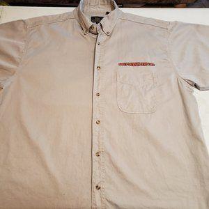 Harley Davidson Button down Tan Shirt Demo Tour XL